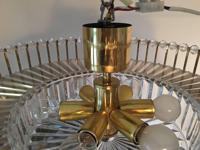 Austrian Crystal Glass Lucite and Gilt Brass Chandelier, Lobmeyr - SPECIAL OFFER For Sale 7