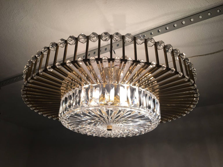 Austrian Crystal Glass Lucite and Gilt Brass Chandelier, Lobmeyr - SPECIAL OFFER For Sale 11