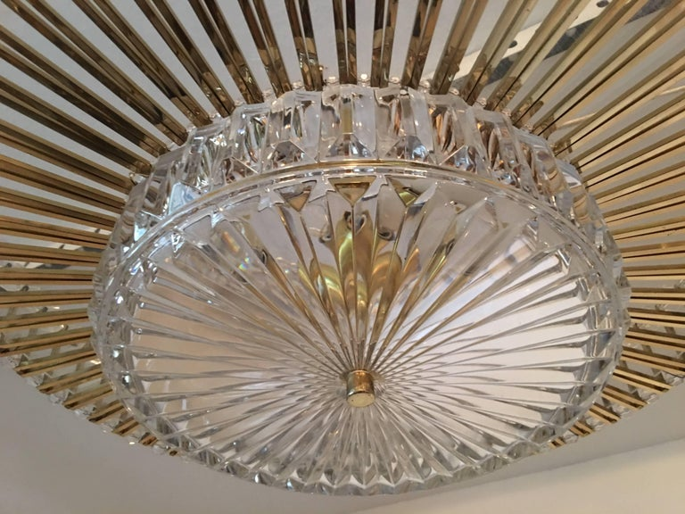 Austrian Crystal Glass Lucite and Gilt Brass Chandelier, Lobmeyr - SPECIAL OFFER For Sale 4