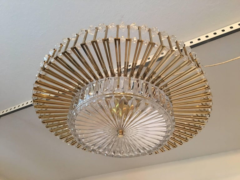 Austrian Crystal Glass Lucite and Gilt Brass Chandelier, Lobmeyr - SPECIAL OFFER For Sale 2