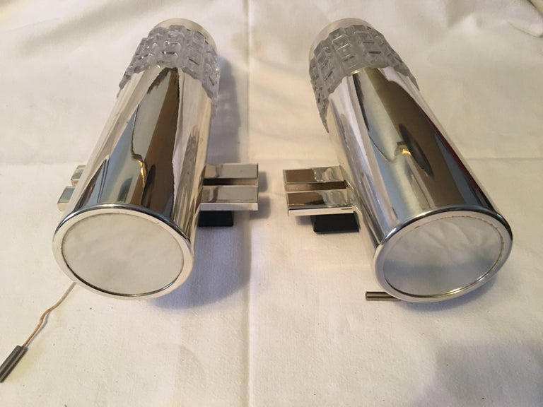 Iron One Pair of 1960s Chrome and Glass Kaiser Sconces For Sale