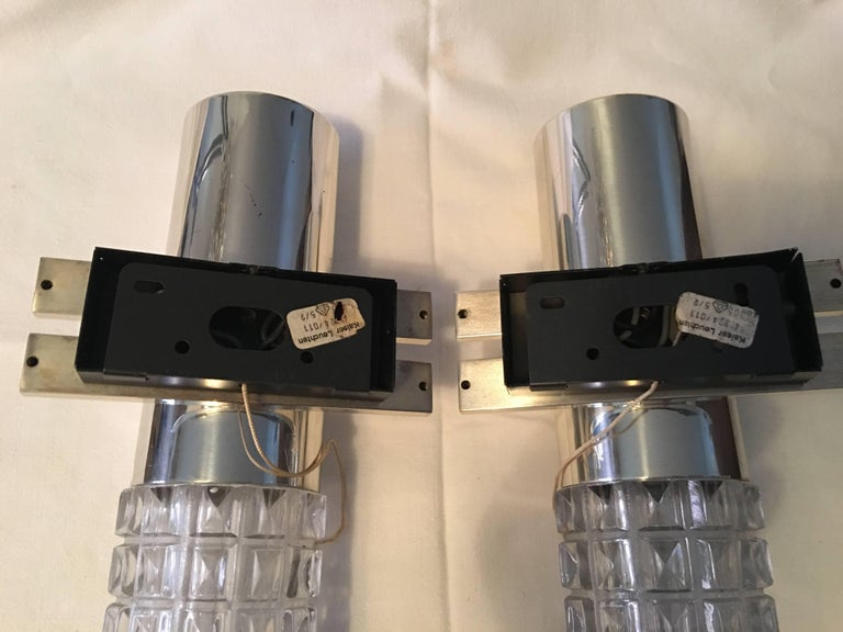 One Pair of 1960s Chrome and Glass Kaiser Sconces For Sale 1