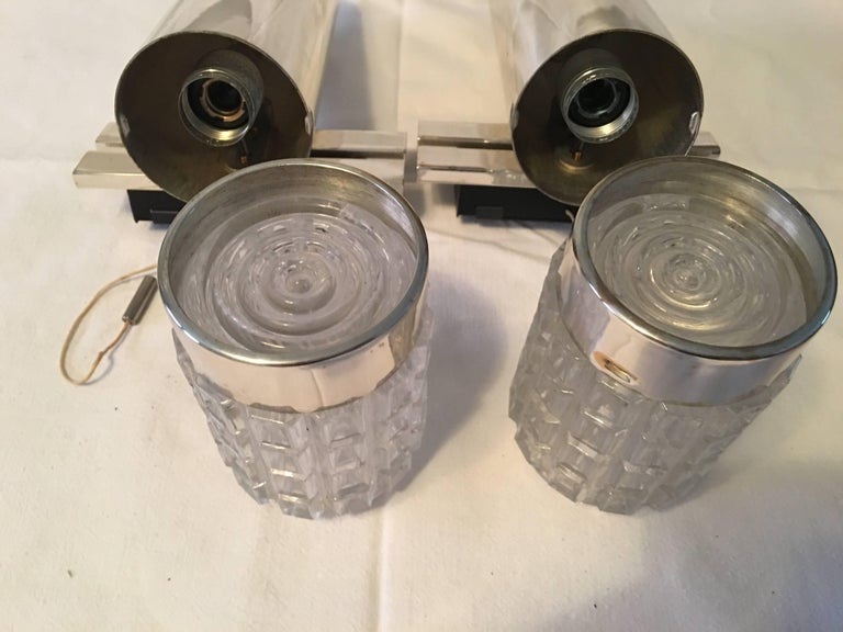 One Pair of 1960s Chrome and Glass Kaiser Sconces For Sale 3