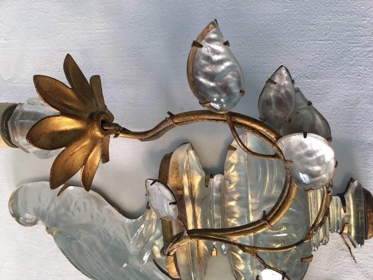 Early 20th Century Maison Baguès Crystal Bird Leave Single Sconce For Sale