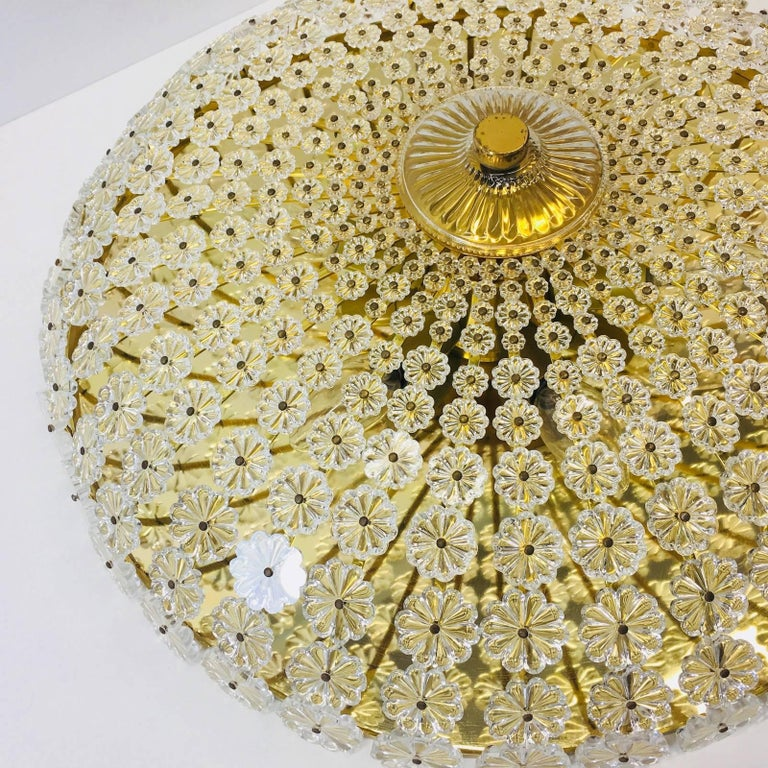 Metal Large Flower Flush Mount by Emil Stejnar, Austria, 1960s For Sale