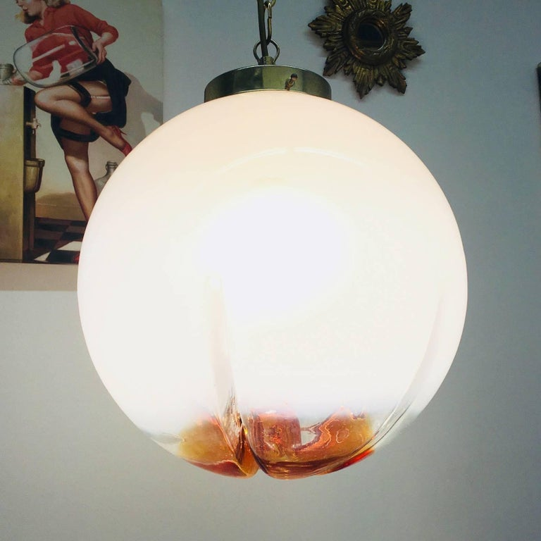 Hanging Organic Ball Fixture by Mazzega of Italy Pendant Chandelier In Good Condition For Sale In Frisco, TX