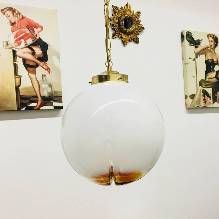 Mid-20th Century Hanging Organic Ball Fixture by Mazzega of Italy Pendant Chandelier For Sale