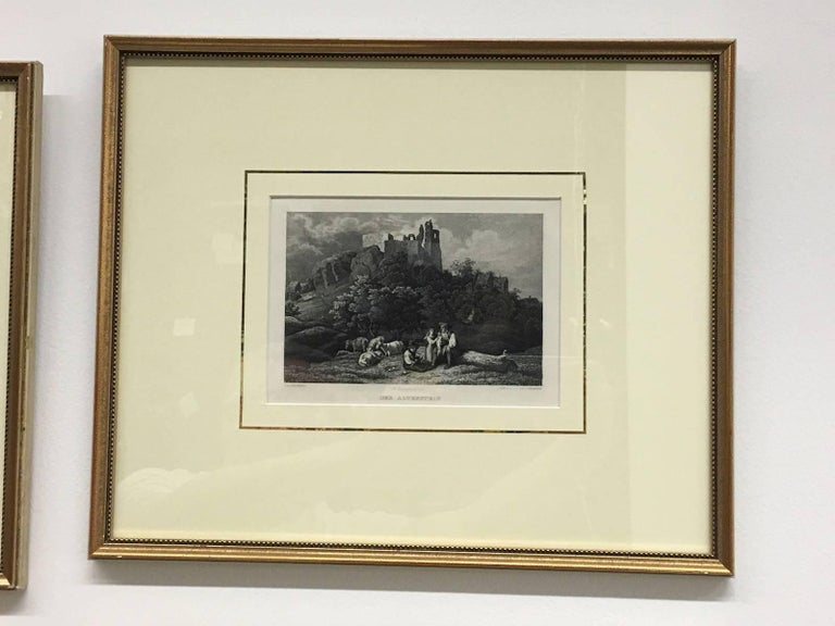 Set of Four German Framed Copper Engravings In Good Condition For Sale In Frisco, TX