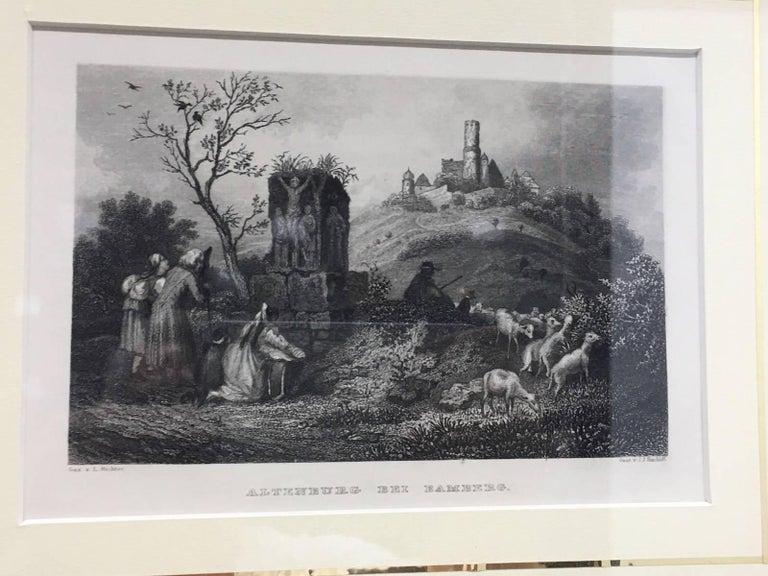 Set of Four German Framed Copper Engravings For Sale 2