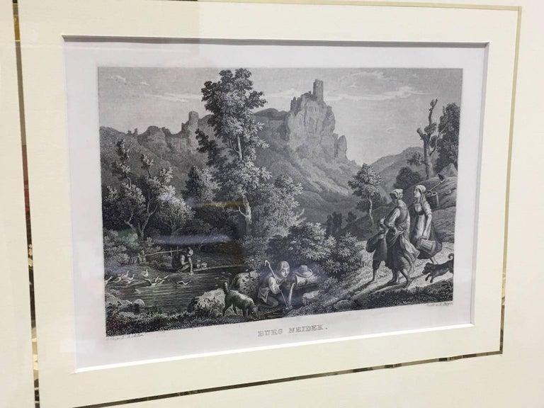 Set of Four German Framed Copper Engravings For Sale 4