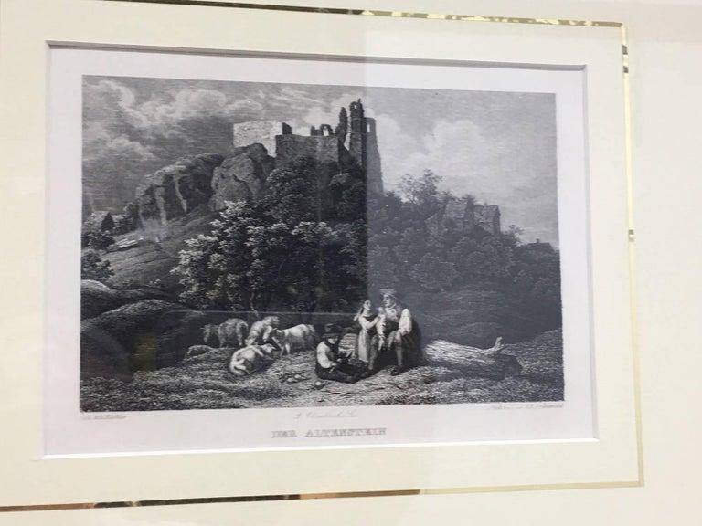 Set of Four German Framed Copper Engravings For Sale 3