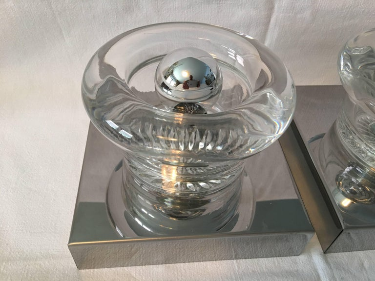 One Pair of Chrome Round Glass Sconces For Sale 2