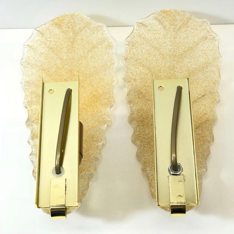 Metal Murano Glass Leaf Wall Sconces For Sale