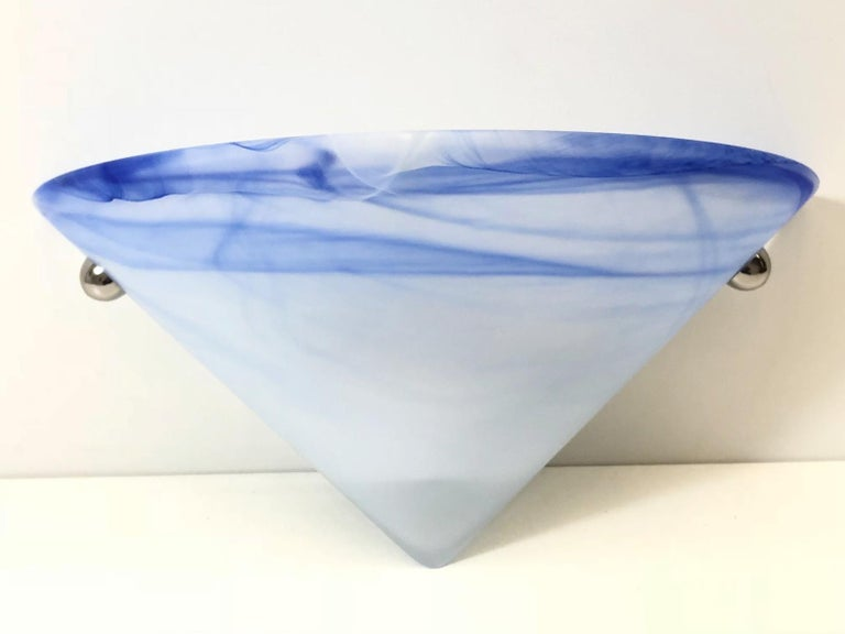 Late 20th Century Eight Blue and White Swirl Murano Glass Wall Sconces For Sale