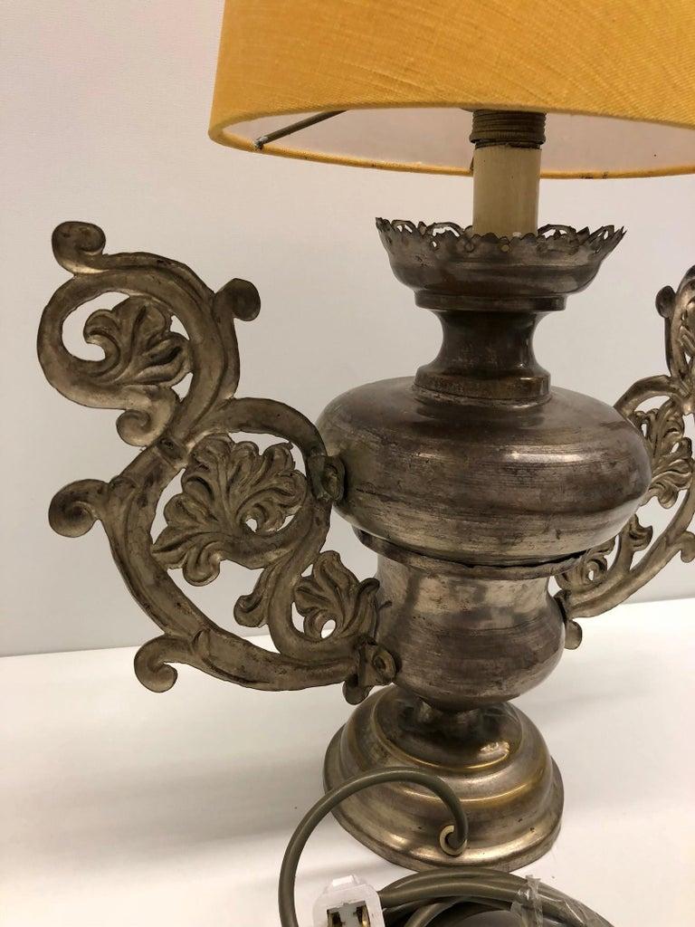 Metal Converted European Altar Vase Lamp, Mid-18th Century For Sale