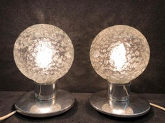 One Pair Petite Doria Leuchten Ice Glass Ball Side Table Lamps