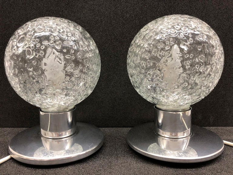 One Pair Petite Doria Leuchten Ice Glass Ball Side Table Lamps In Good Condition For Sale In Frisco, TX