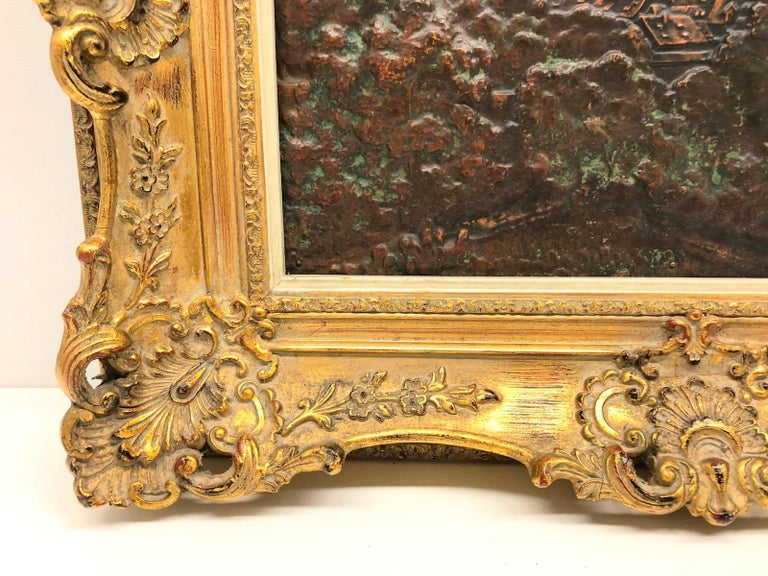 A stunning, beautiful antique copper picture. Handmade by a local Artisan with a detailed view of the inner, old city of Nuernberg with its majestic castle as a background. it is displayed in a period giltwood frame. 12.5 inches long and 8 inches