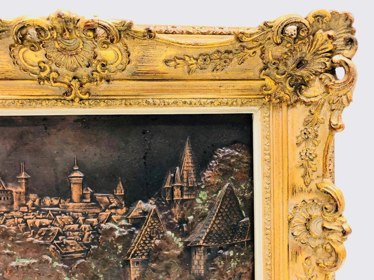 Early 20th Century Giltwood Framed Copper of Nuernberg Germany City View Antiques 1920s Item For Sale