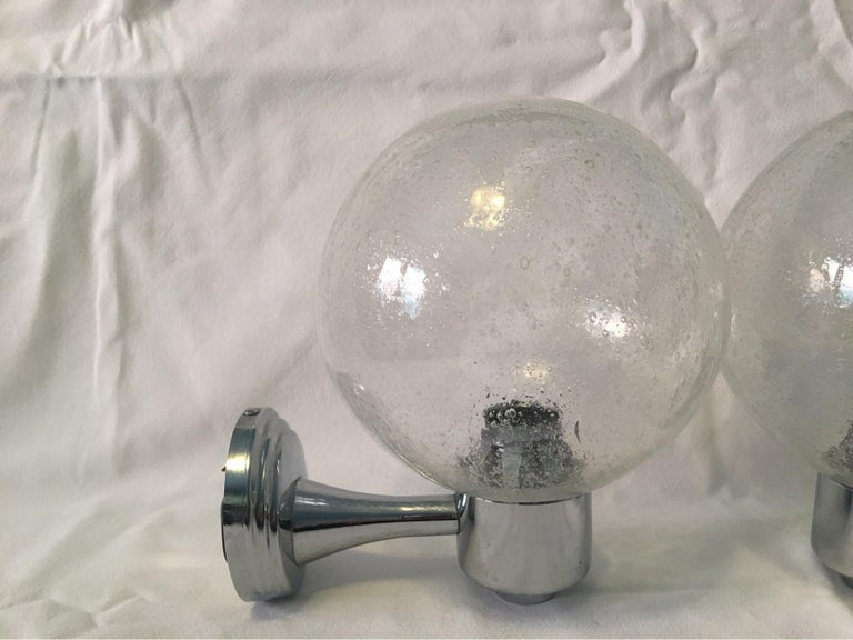 One Pair of Chrome and Air Bubble Glass Ball Sconces In Good Condition For Sale In Frisco, TX