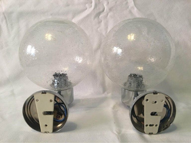 Late 20th Century One Pair of Chrome and Air Bubble Glass Ball Sconces For Sale