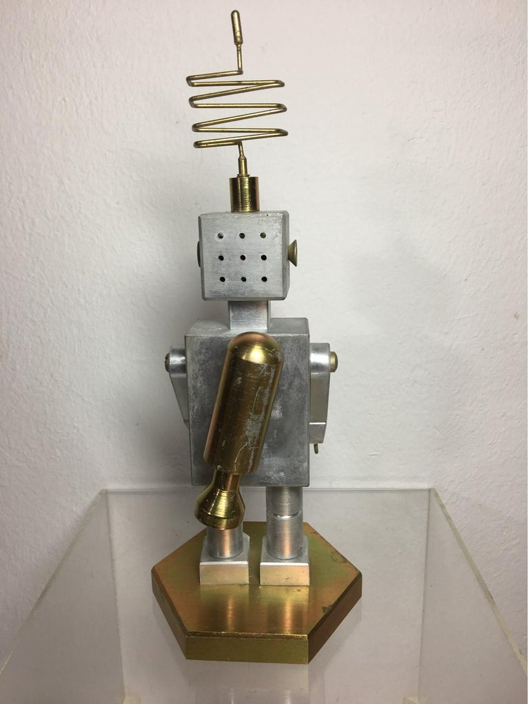 Late 20th Century Handmade Brass and Aluminum Robot from Germany, 1970s For Sale