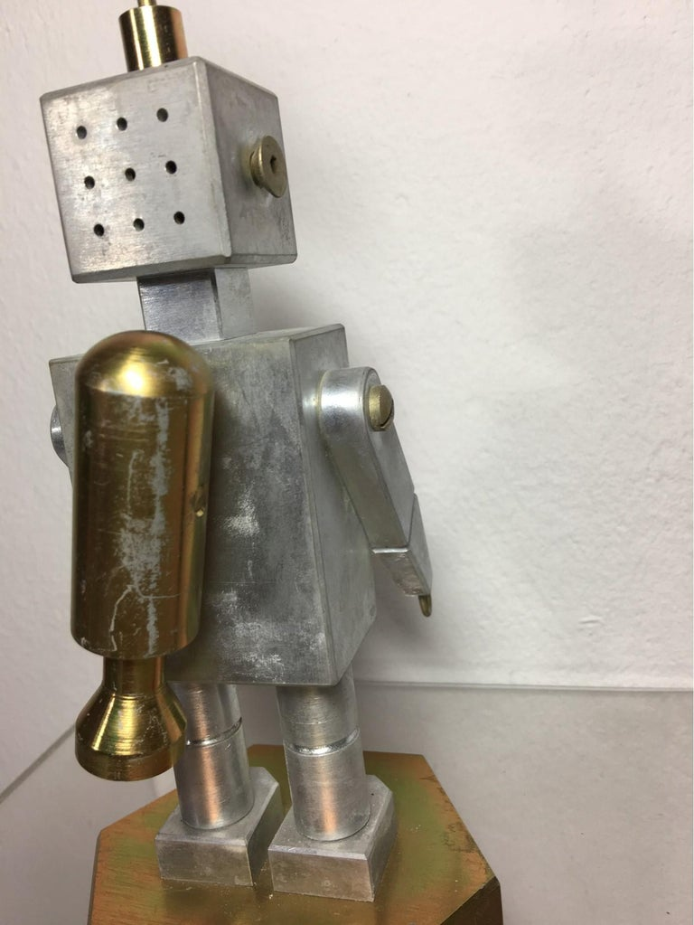 Handmade Brass and Aluminum Robot from Germany, 1970s For Sale 1