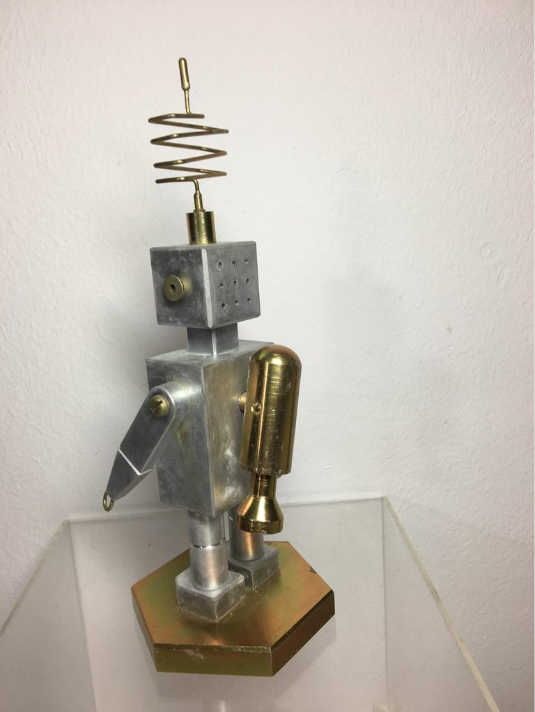 Handmade Brass and Aluminum Robot from Germany, 1970s For Sale 2