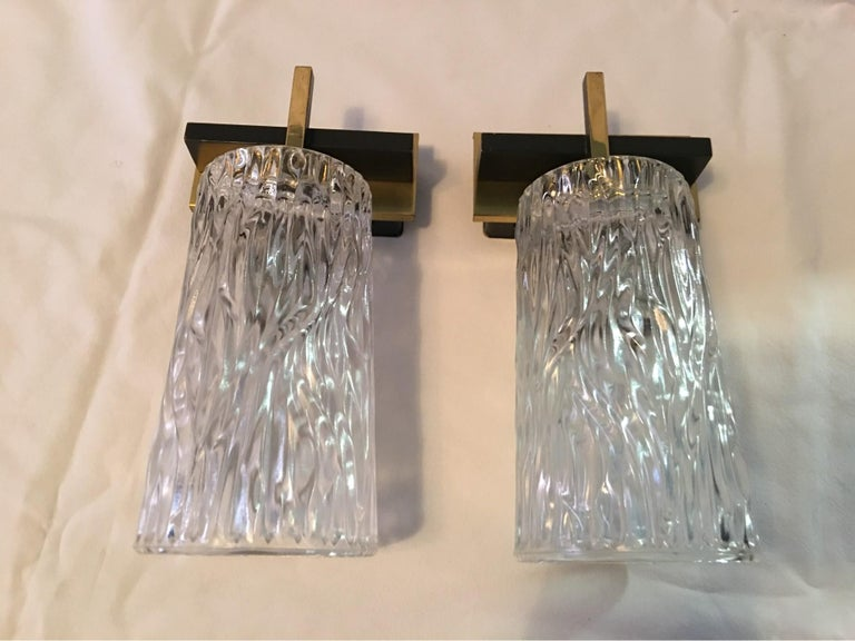 Pair of Lovely Austrian Kalmar Style Glass Sconces For Sale 4