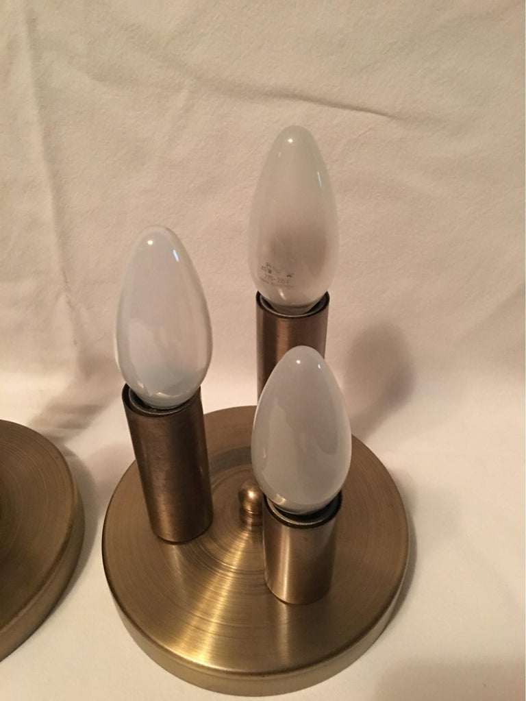 German One Set of Three Brass Sputnik Three-Light Flash Mounts, or Sconces  For Sale