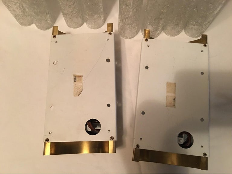 Elegant Pair of 60's Ice Glass Tubes and Brass Sconces by Doria of Germany For Sale 7