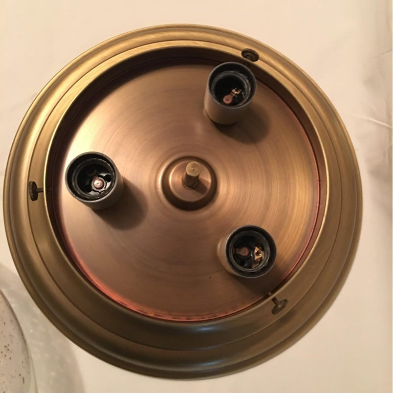 Glass Domed Brass Flush Mount from Germany For Sale 2