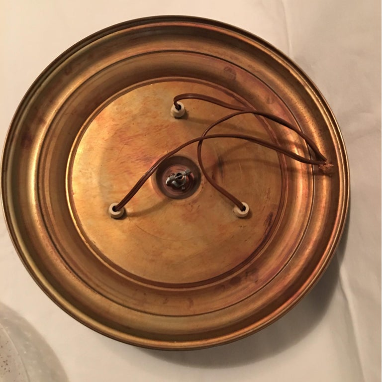Glass Domed Brass Flush Mount from Germany For Sale 3