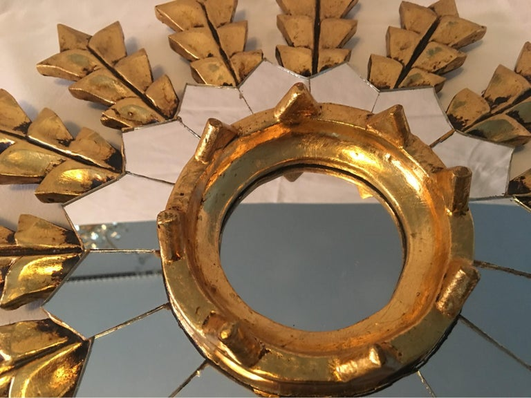 Mid-20th Century French Leaf Gold on Wood Sunburst Wall Mirror For Sale
