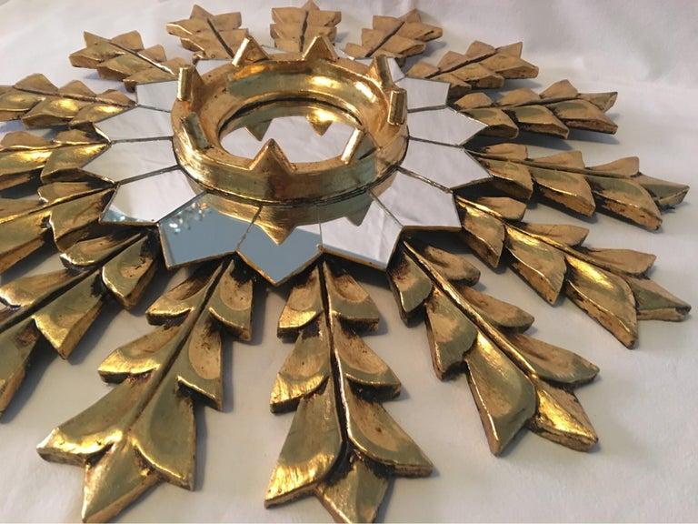 Giltwood French Leaf Gold on Wood Sunburst Wall Mirror For Sale