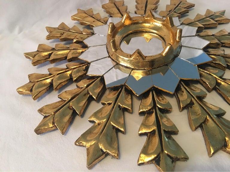 French Leaf Gold on Wood Sunburst Wall Mirror For Sale 1