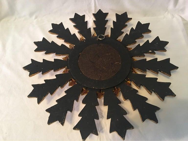 French Leaf Gold on Wood Sunburst Wall Mirror For Sale 2