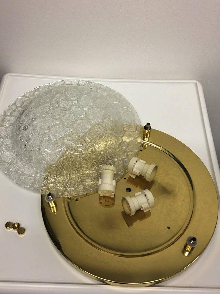 Mid-20th Century Fischer Leuchten Textured Glass Flush Mount For Sale