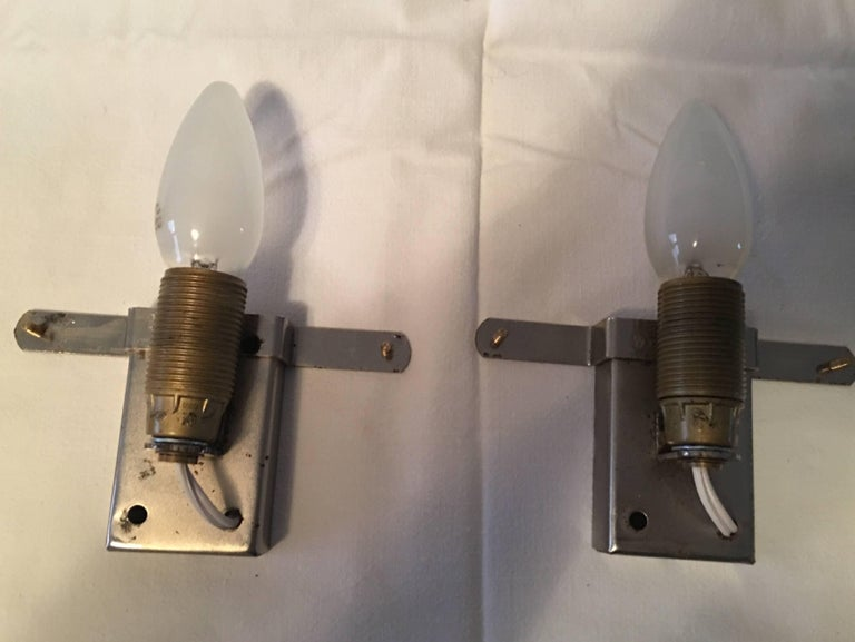 Lovely set of Mazzega style glass sconces. Each fixture requires one European E14 candelabra bulb up to 40 watts max. Unique set sure to brighten up any location. The sconces are in our European shop and will be shipped directly from there to the