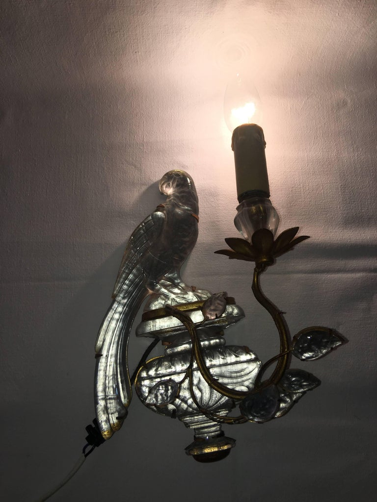Maison Baguès Crystal Bird Leave Single Sconce For Sale 4