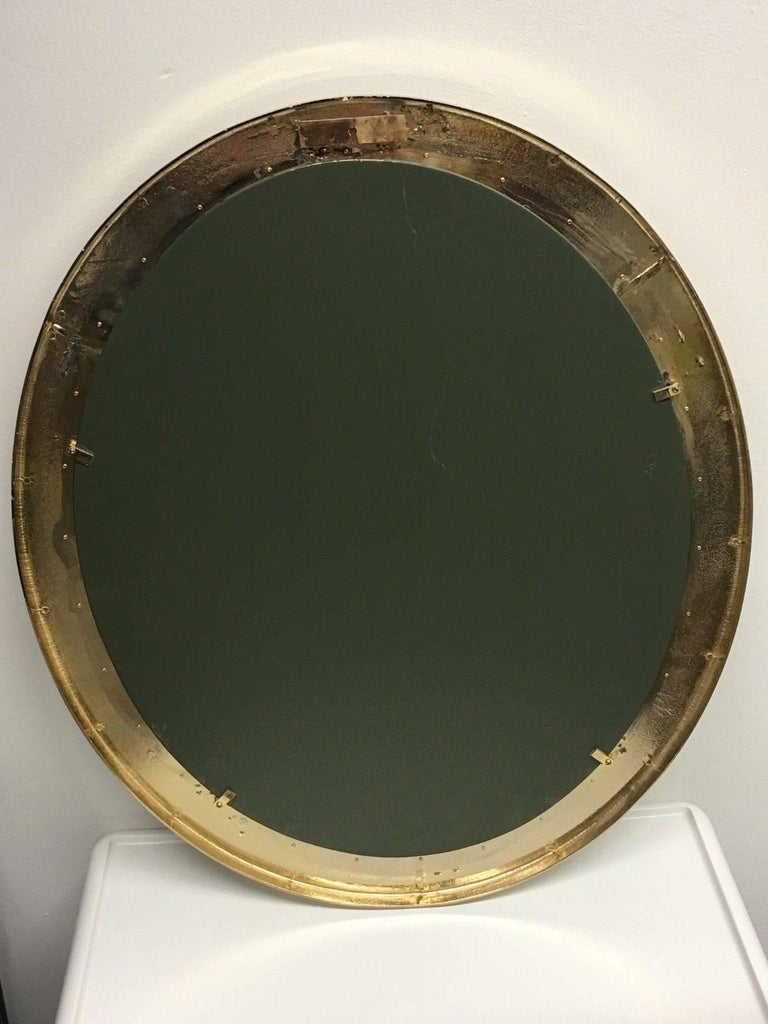 Oval Gilt Brass and Crystal Flowers Mirror by Palwa, circa 1960s For Sale 3