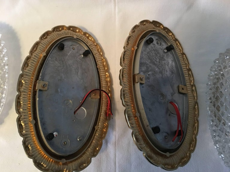 One Great Pair of Textured Glass and Surrounded Gilded Brass Limburg Sconces For Sale 3