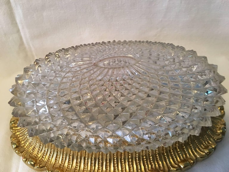 One Great Pair of Textured Glass and Surrounded Gilded Brass Limburg Sconces For Sale 6