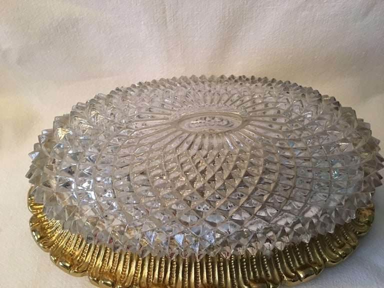 One Great Pair of Textured Glass and Surrounded Gilded Brass Limburg Sconces For Sale 7