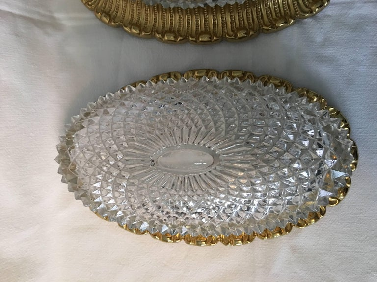 German One Great Pair of Textured Glass and Surrounded Gilded Brass Limburg Sconces For Sale