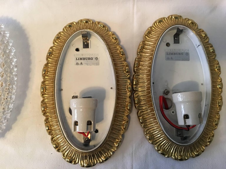 One Great Pair of Textured Glass and Surrounded Gilded Brass Limburg Sconces For Sale 1