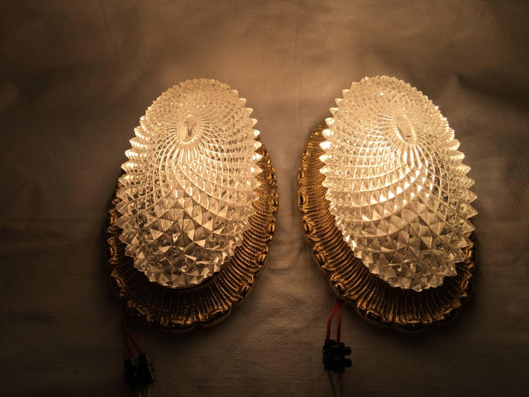 Mid-20th Century One Great Pair of Textured Glass and Surrounded Gilded Brass Limburg Sconces For Sale
