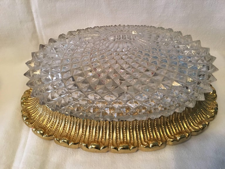 One Great Pair of Textured Glass and Surrounded Gilded Brass Limburg Sconces For Sale 4
