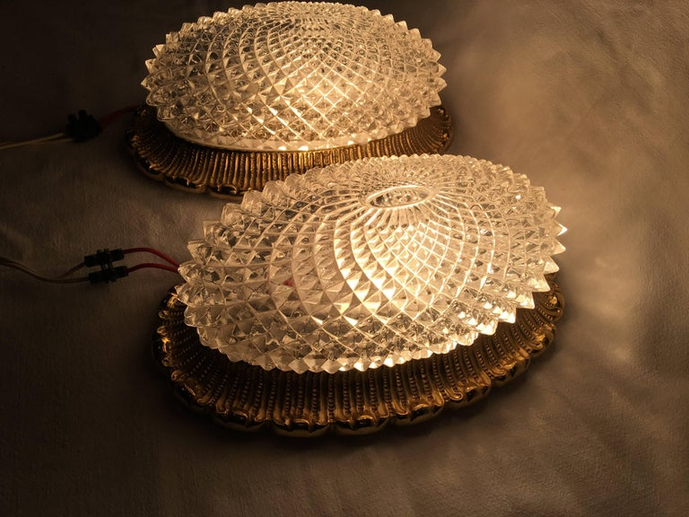 Aluminum One Great Pair of Textured Glass and Surrounded Gilded Brass Limburg Sconces For Sale