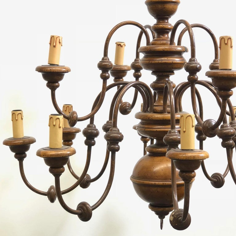 Italian Florentine Florence Renaissance Style Wood and Metal Chandelier from Italy For Sale